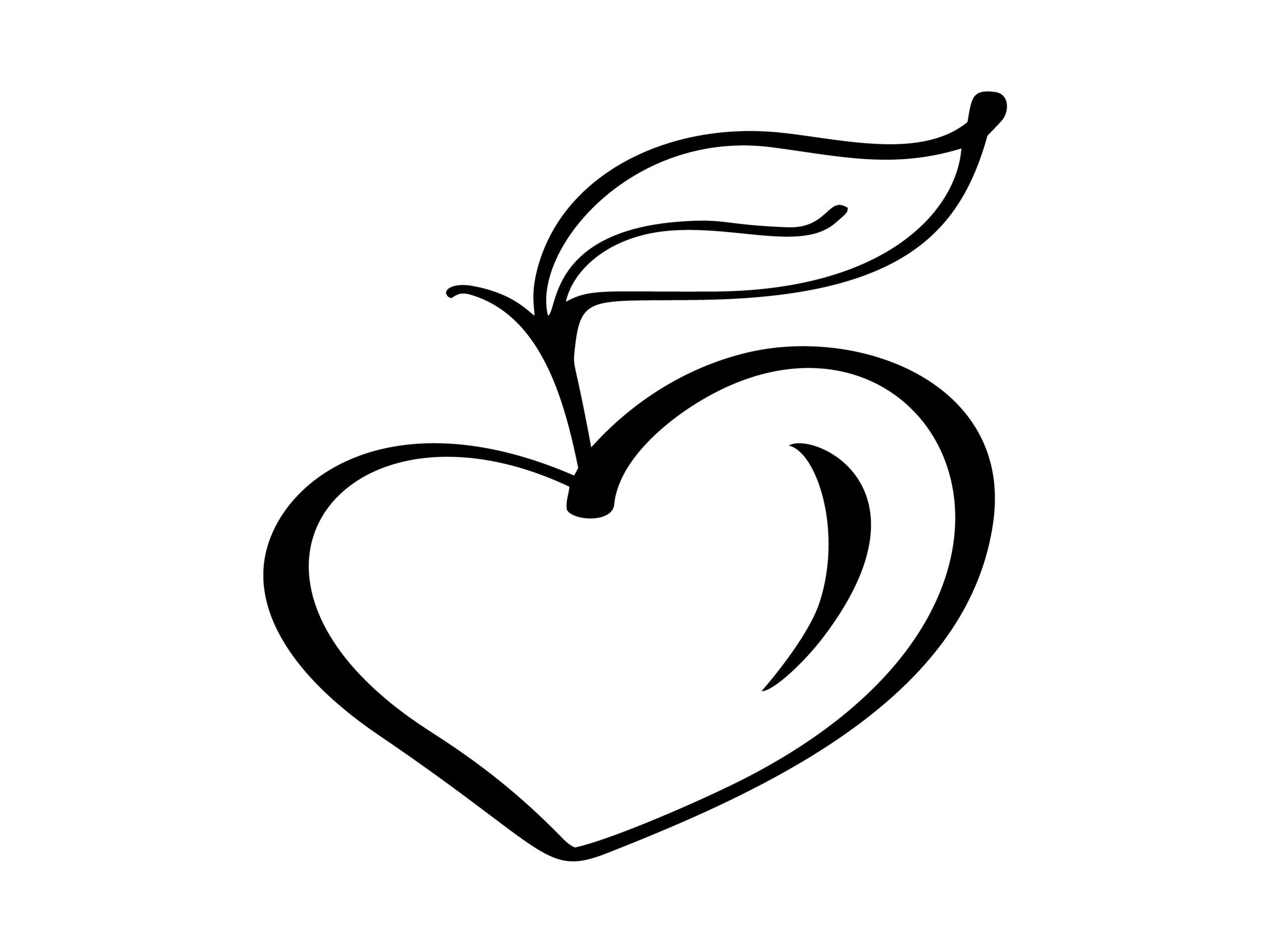 Naklejka na ścianę jabłko serce
