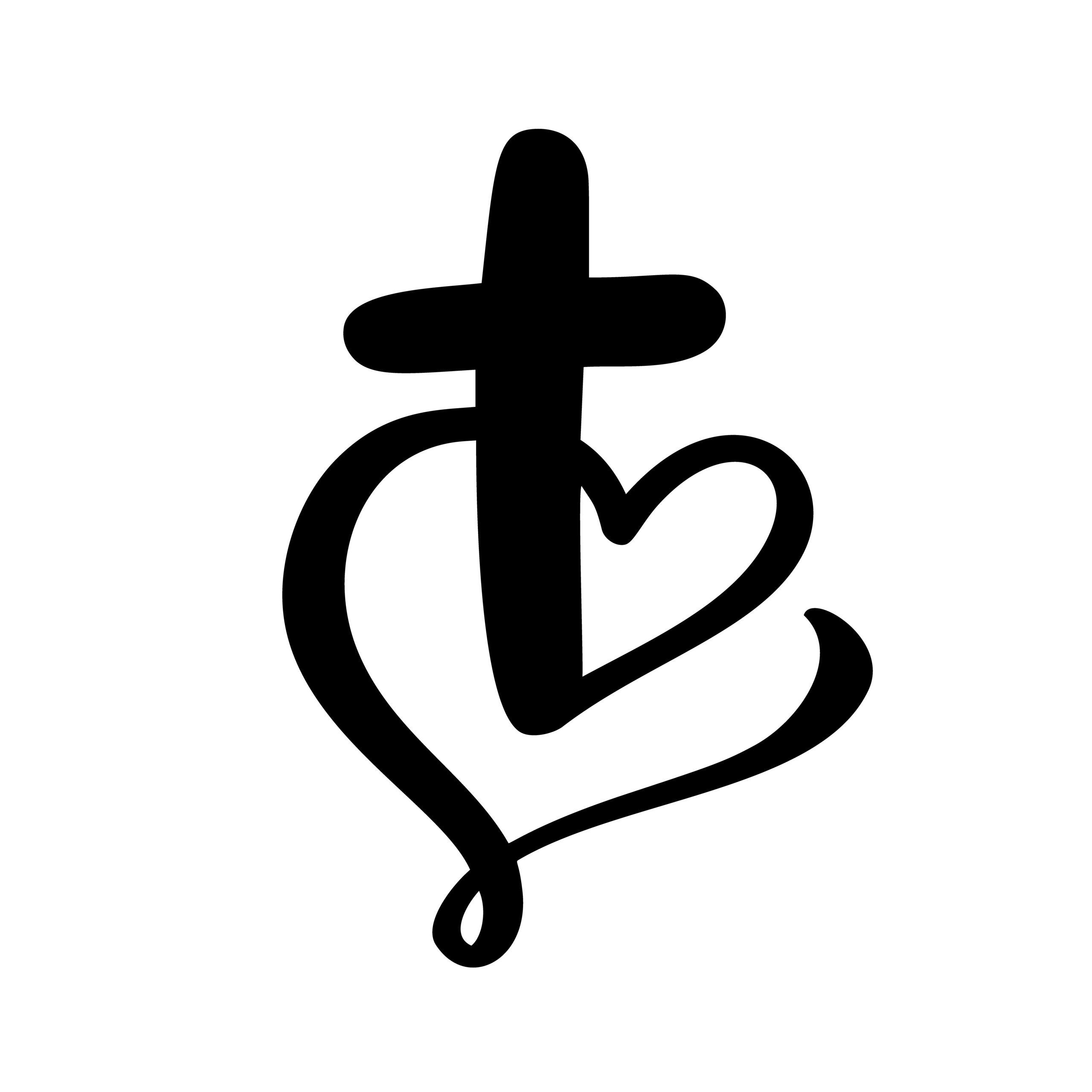 Naklejka na ścianę krzyż serce jezus