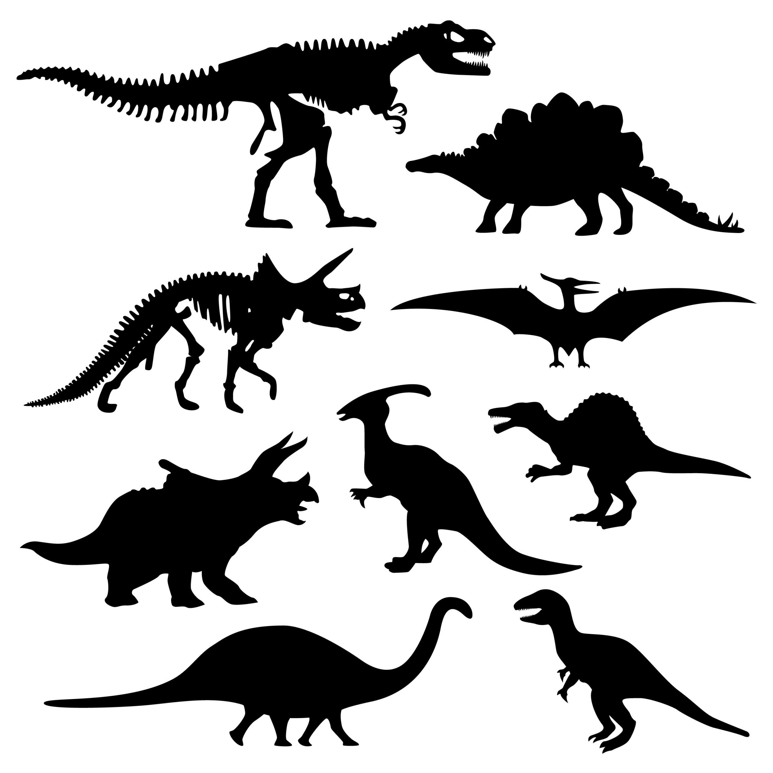 Komplet naklejek dinozaury 9 sztuk 45cm  x 50cm