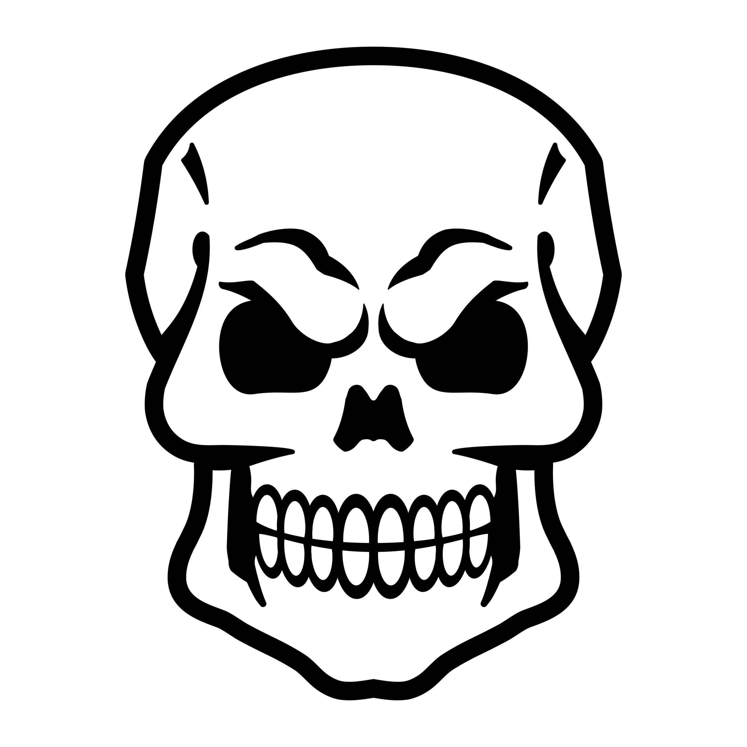 Naklejka na ścianę czaszka wściekła