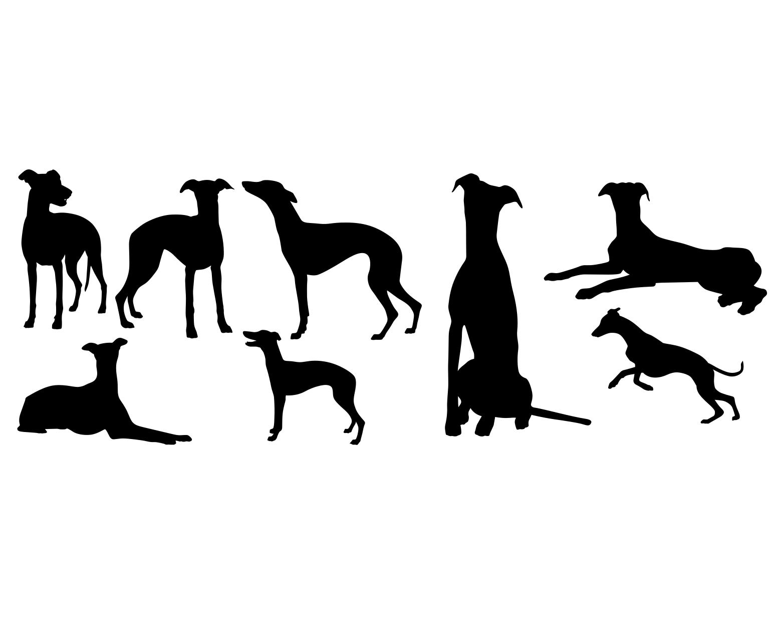 Komplet naklejek psy wyżły 8sztuk 45cm  x 30cm