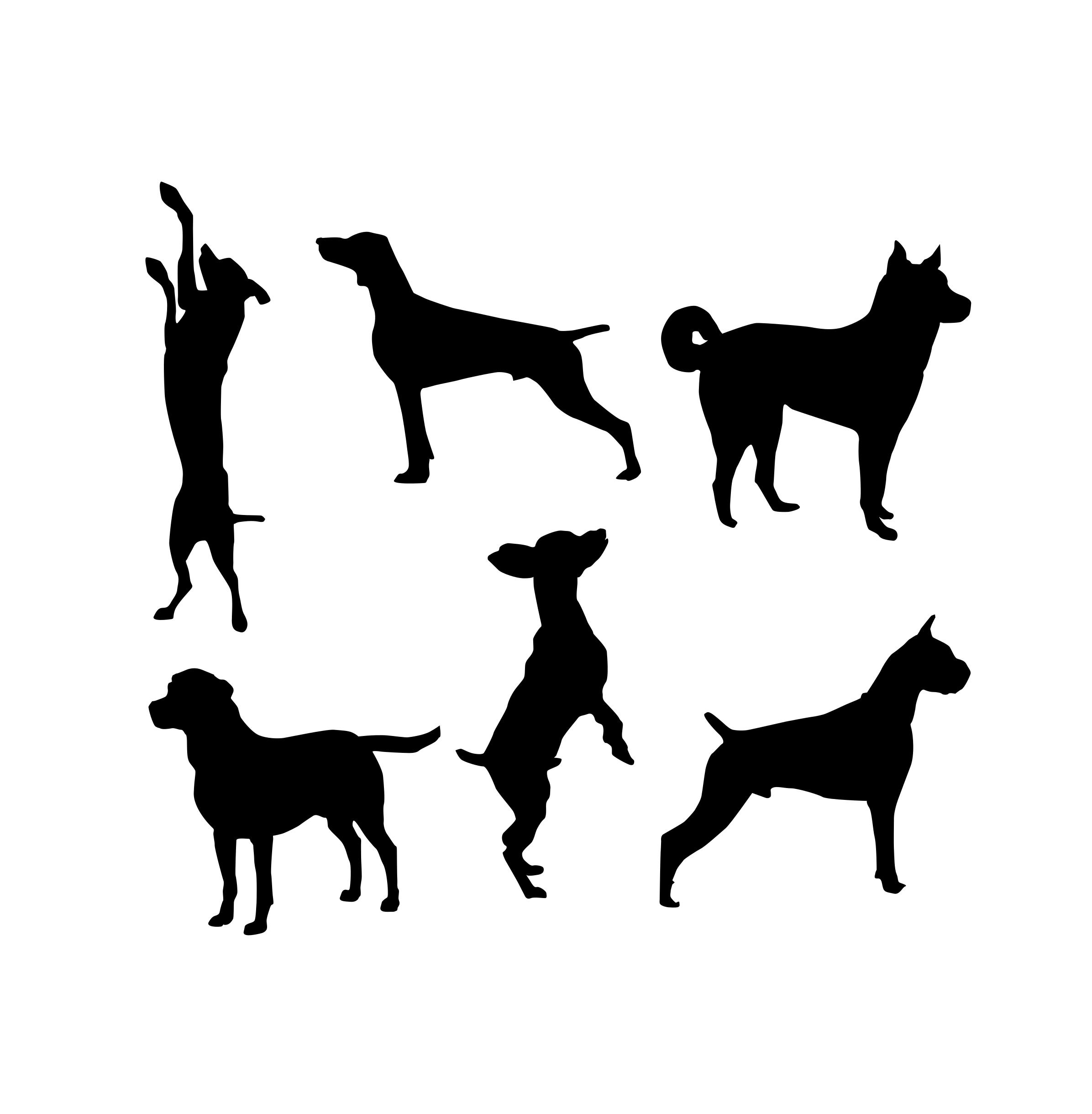 Komplet naklejek psy skok 6szt 45cm  x 40cm