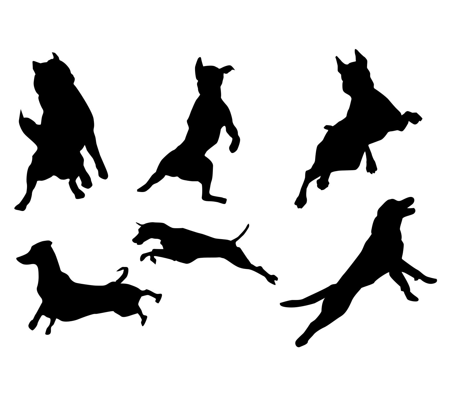 Komplet naklejek skaczace psy 6 sztuk 45cm  x 35cm